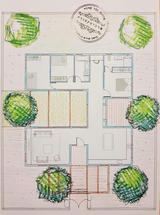 אלונה נבו סידי תוכנית בית עם חצרות  פשוטה מינימליסטית