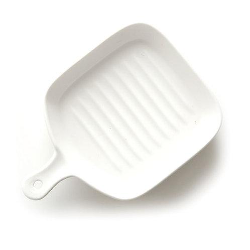 瑞典【GREEGREEN】方形單柄陶瓷烤盤 6吋(白色)