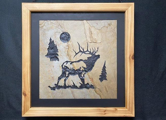 Bugling elk with trees and moon in the sky