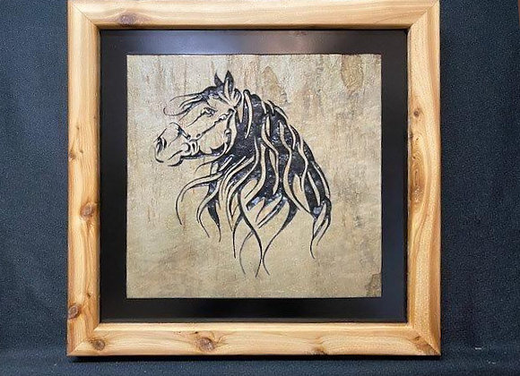 Side View of Horse with Beautiful Mane