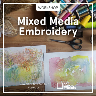 In this two-day workshop we will create images through mixed media combining painting, collage and embroidery.  Friday evening we will talk about inspiration, look at examples and create our image backgrounds. Saturday, when our backgrounds have dried, we will continue our work by adding threads  and yarn to our images.