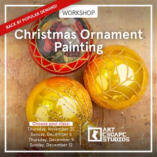 Back this year by popular demand!   Paint your way into the Holiday season with Art Escape Studios... Join us from any of the 4 Holiday events we have organized for this year.  November 25 December 5th, 9th & 12th from 6:30- 8:00 for gløgg, cheer and hygge!  Decorate your own Holiday Ornament while sipping on warm gløgg and listening to our favourite Holiday music! 225 dkk Everything you need is included, even the GLØGG! 😉 (You will paint 5 glass Christmas ornaments.)  Seating is limited.