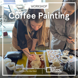 COFFEE - The hot drink that we all love to drink -  But have you ever thought about painting with coffee? Probably not...well here is your chance! Come join us for a cozy morning in Art Escape Studios & Café, enjoy your  favorite drink and create a painting out of coffee ☕️❤️☕️ Coffee painting is a little like watercolor painting and our teaching artist Ida, will provide a step by step guide in how to create a nice little coffee painting, that you'll get to take home and frame and look at in the mornings while you sip your coffee. All the art material and 1 cup of coffee (Or another beverage of choice from the cafe) is included in the price. Max 8 participants. 395 dk 2 hour workshop