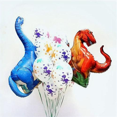 Композиция с двумя фигурами динозавров