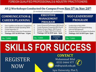 Executive Training (ET) Program at Iqra University