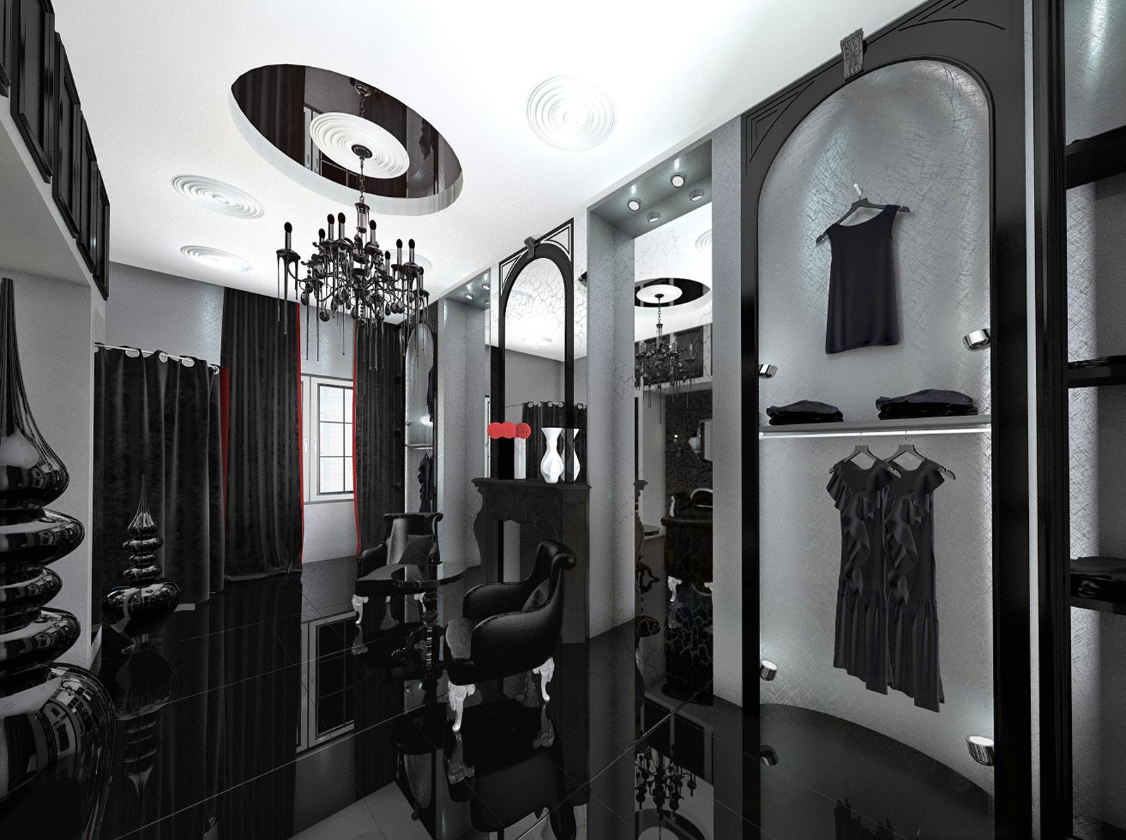 Fashion showroom, shop, 3d