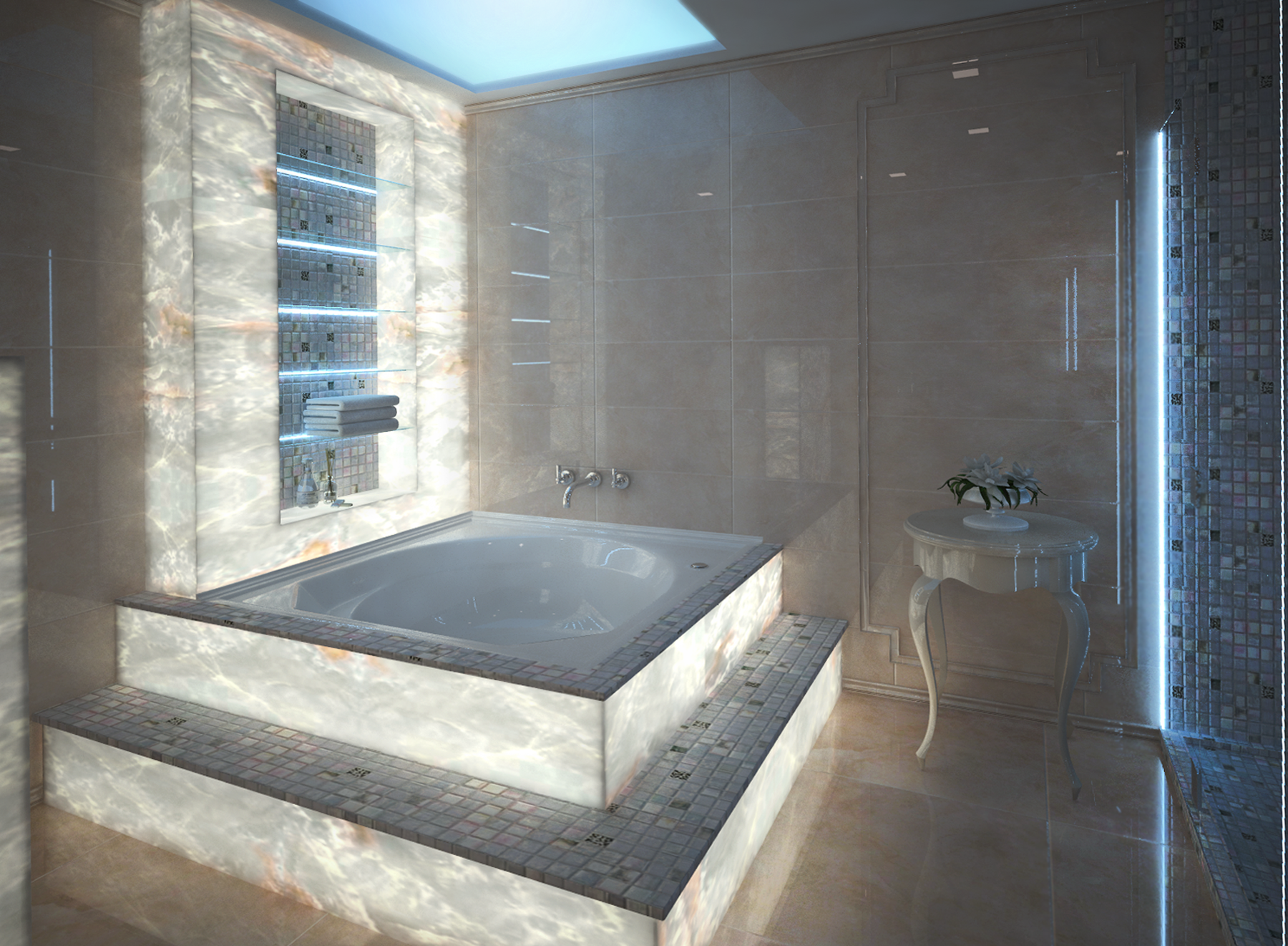 Onyx bathroom, classic design, 3d