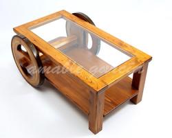 Mesa salón castaño con rodas_3