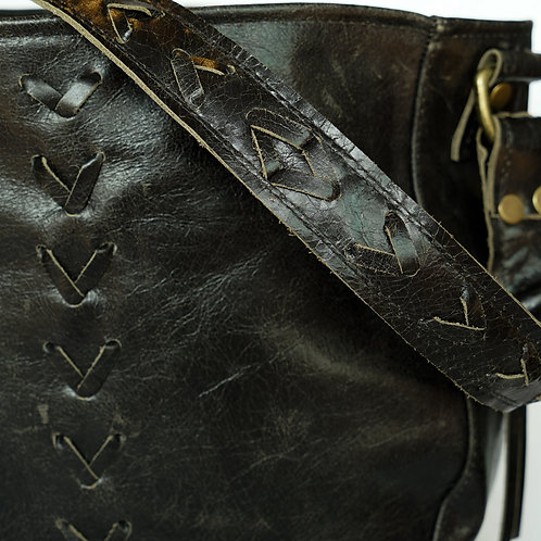HOBO- RUSTIC BLACK LEATHER