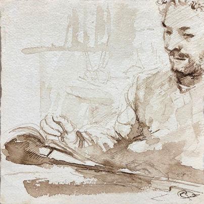 jory glazener-ink drawing-portrait-taillefer long