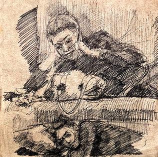 jory glazener-ink drawing-portrait-girl