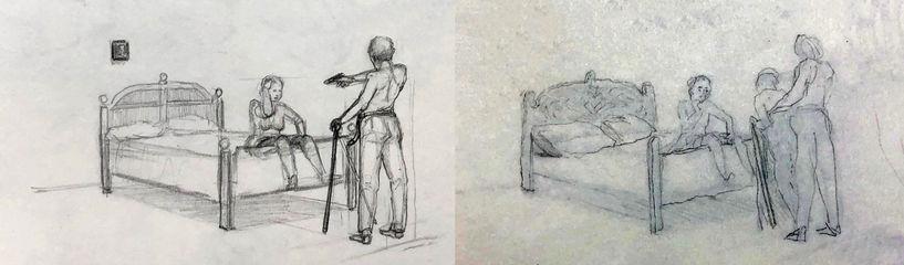 jory glazener-sketch drawing-man girl bed