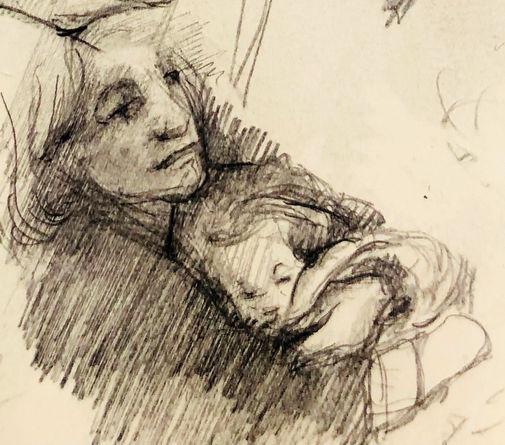 jory glazener-sketch drawing-portrait-woman-baby