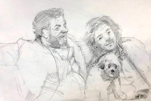 jory glazener-sketch drawing-portrait-2 men-dog