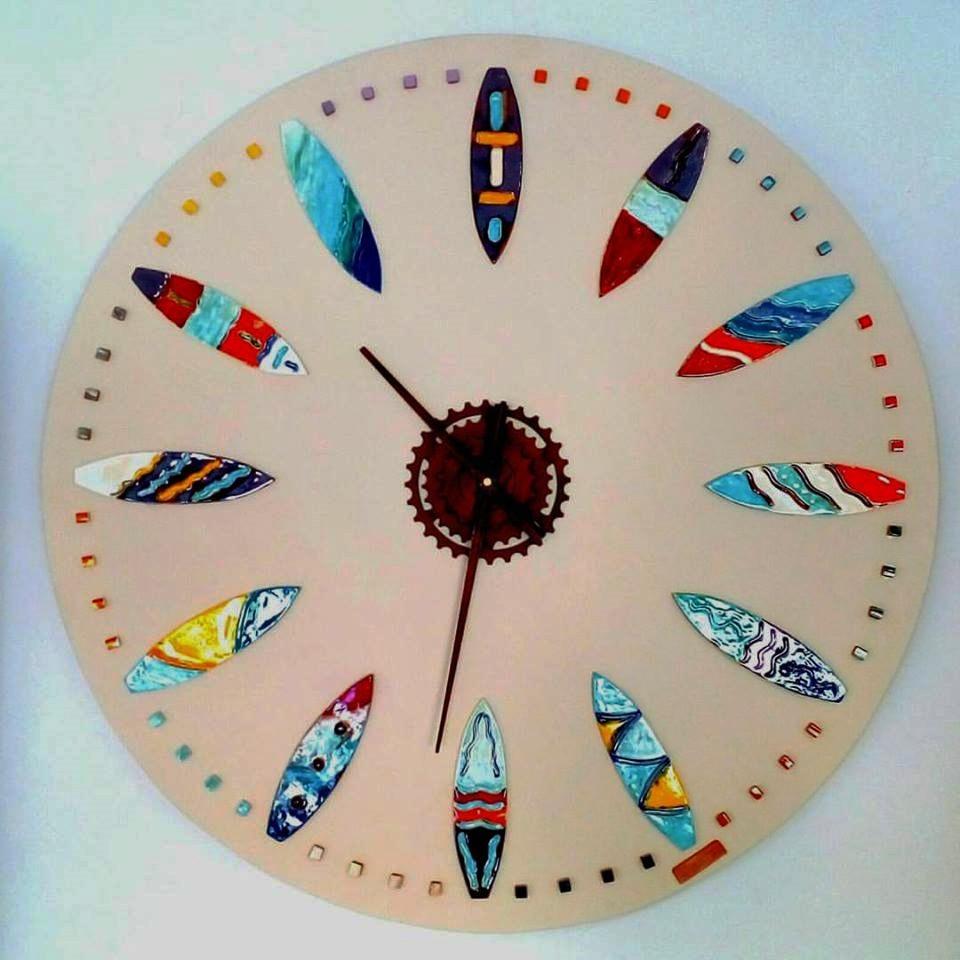 Handmade Ceramic Surfboards Wall Clock