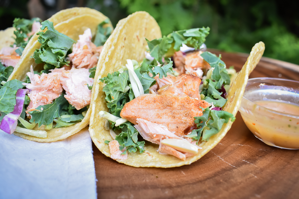 Salmon Tacos with hint of Asia