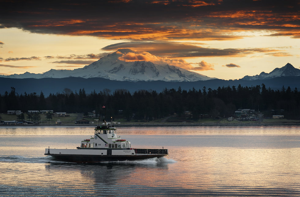 """Ferry and Mt. Baker. The ferryboat """"What"""