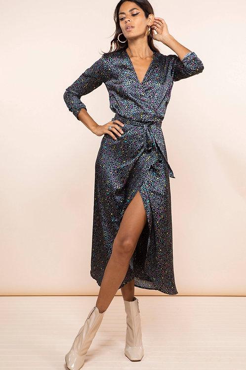 Yondal Wrap Dress - Multi Ditzy Leopard