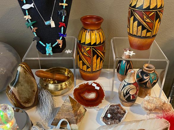 Fetish necklace, pottery, polychrome jasper, picture jasper pyramid, Hematoid quartz, colorful turn table