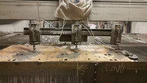 Abrasive waterjet tri-head cutting acryl