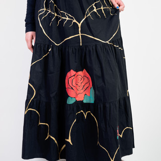 Gonna lunga cotone dipinta a mano/Hand painted Cotton long skirt