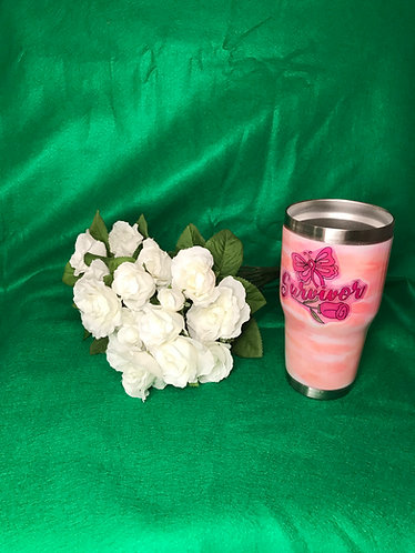 Survivor with ribbon and rose on pink tumbler. One in stock others can be made t
