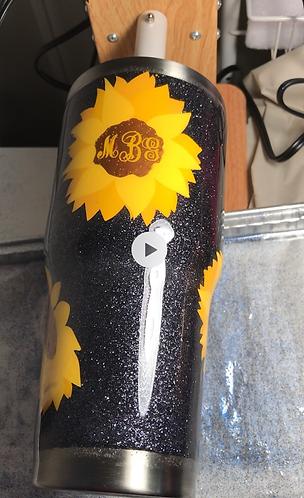 Sunflower monogram tumber