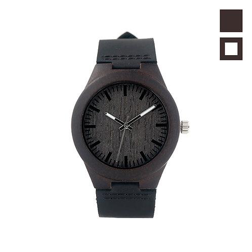 Часы Woodee Dark Ebony с кожаным ремешком