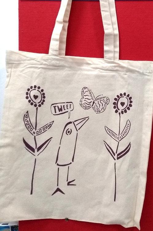 Organic Cotton Bag - Bird