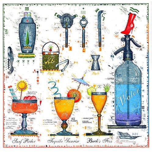 Cocktail Bar, Cocktail Glaeser, Flaschenöffner, Trinkhalm, Icekuebel