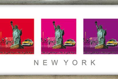 liberty, new york city, pigment-print, giclée-print, yellow cab, leslie g. hunt, modellrahmen