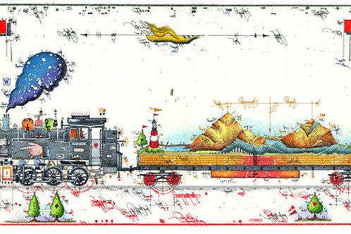 Bergbahn, Farbradierung, Lokomotive, Landschaft, Leslie G. Hunt