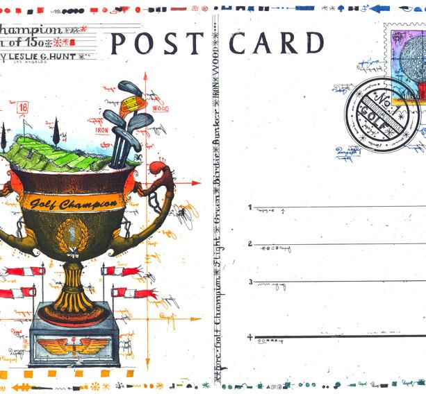 Farbradierung Golf Champion Postcard