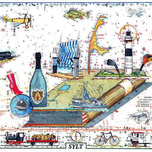 sylt, champagner, kaviar, kampen, leuchtturm, strandkorb, leslie g. hunt, farbradierung