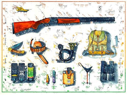 Farbradierung - Die Jägerei - Leslie G. Hunt