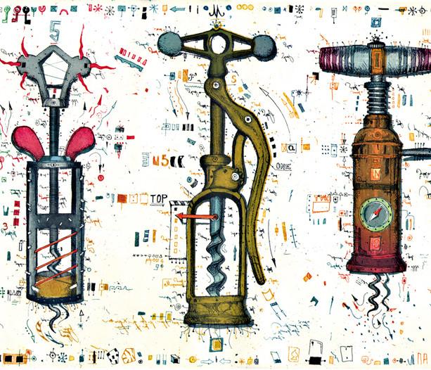 Farbradierung Schlüssel zum Weinparadies
