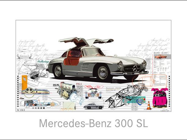 Auto Kunst-Car Art-Mercedes Benz-300 SL