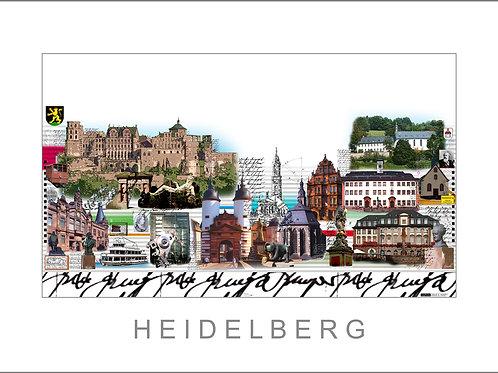 Giclée,Fine Art Print, Stadtansicht, City Print, Cityprint, Heidelberg, Leslie G. Hunt