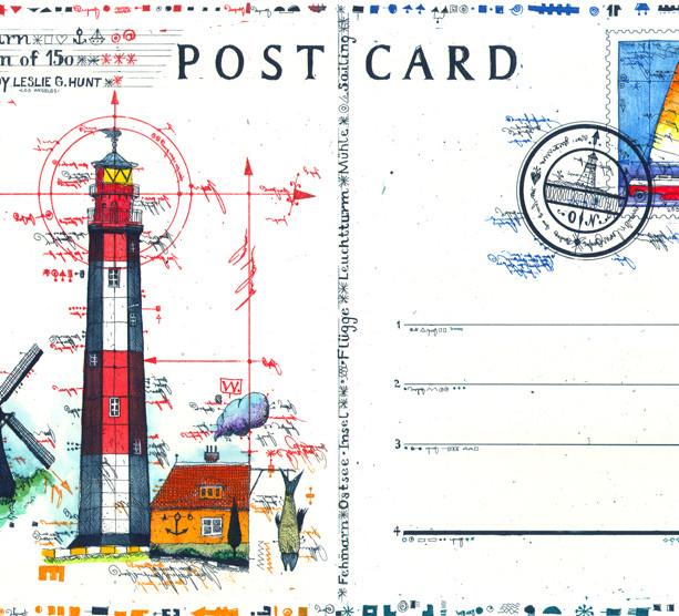 Farbradierung Lighthouse Postcard