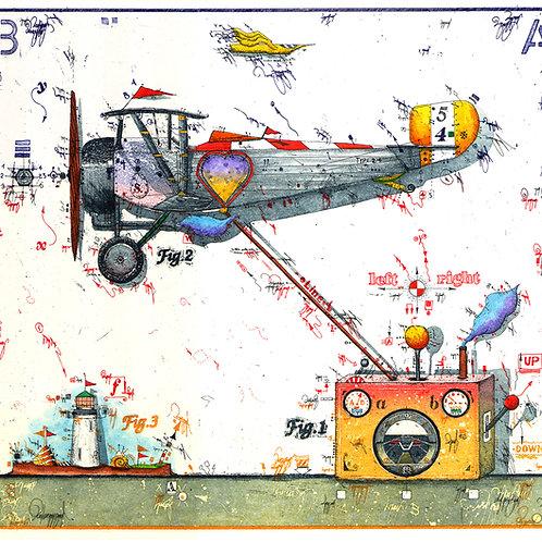 Farbradierung - Flugzeug - Flying Heart Attraktion - Leslie G. Hunt