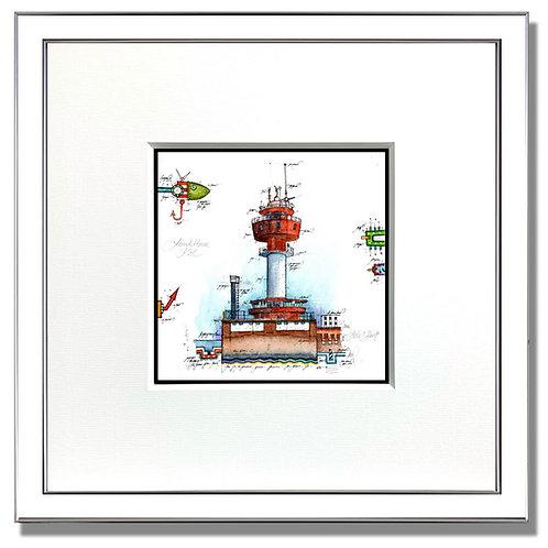 Leuchtturm kiel, Kiel, Gouache, original, Rahmen