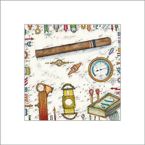 Zigarre, Zigarrenschneider, Banderole, Streichhölzer, Feuerzeug, Humidor, leslieghunt
