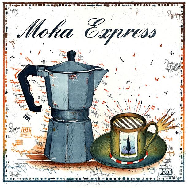 Farbradierung Moka Express