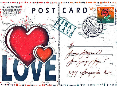 post card, postkarte, love note, herz, heart, briefmarke, stamp, farbradierung, etching, leslie g. hunt, nummer drei