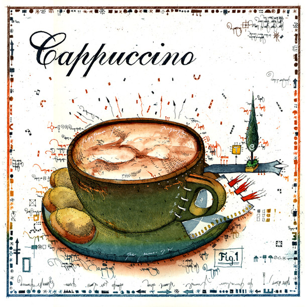 Farbradierung Cappuccino