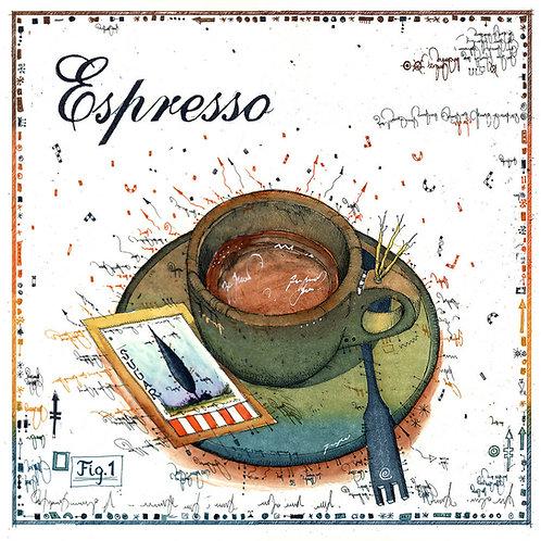 Espresso, Tasse, Farbradierung, Leslie G. Hunt