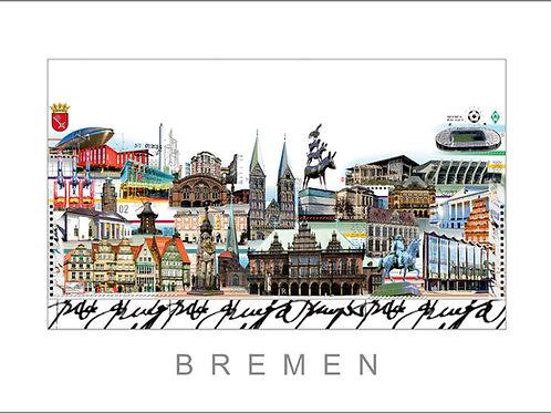 Cityprint, Stadtansicht, Bremen, Bremer Stadtmusikanten, Roland