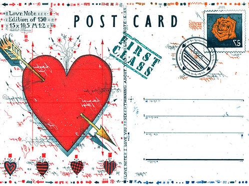 post card, postkarte, love note, herz, heart, nummer zwei, briefmarke, stamp, farbradierung, etching, leslie g. hunt