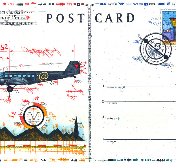 Farbradierung YU 52 Postcard