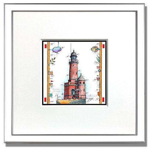 Leuchtturm Holtenau, Kiel, Gouache, Original, leslie g. Hunt